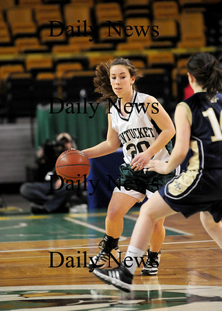 Boston: Victoria  Castiglione (20) brings the ball up the court for Pentucket during the Sachems' 62-37 win over Archbishop Williams at the TD Garden in Boston. Photo by Ben Laing/Staff Photo