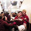 Chelmsford: Newburyport goalie Anthony Federico (1) is mobbed by Clipper fans after he lead his team to a 3-1 victory over previously unbeaten Wilmington. Photo by Ben Laing/Staff Photo