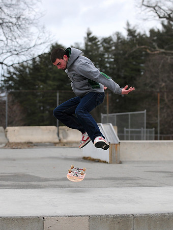 Amesbury: Frank Maneiro, 18, of Amesbury, spends Wednesday afternoon at the Amesbury skate park despite the cold temperature, hoping to get in as much skating as possible before it rains. Photo by Ben Laing/Staff Photo