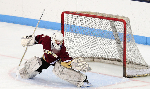 Chelmsford: Clipper goalie Anthony Federico (1) robs a Wilmington shooter during the second period of Newburyport's 3-1 win Monday night. Photo by Ben Laing/Staff Photo