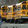Newburyport: Buses line up at the Nock Middle School yesterday as classes were released for the day. Bryan Eaton/Staff Photo