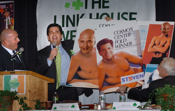 Newburyport: State rep. Michael Costello and Sen. Steven Baddour spoofed each other with doctored photos of each other over the photo of  U.S. Senator Scott Brown when he posed for Cosmopolitan magazine. Bryan Eaton/Staff Photo