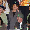 """Newburyport: Newburyport Mayor Donna Holaday and Amesbury Mayor Thatcher Kezer laugh as the """"Back-Up Singers"""" from left, Ann Ormond, Cindy Johnson and Esther Sayer, sing """"Soldier Boy"""" referencing Kezer's time in the military. Bryan Eaton/Staff Photo"""