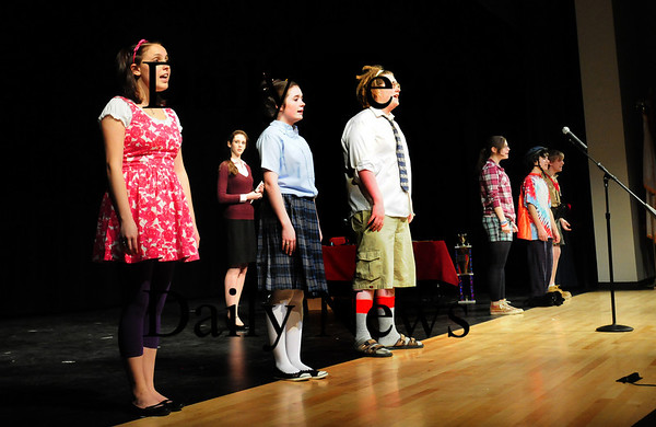 "Amesbury: Members of the Amesbury High School Drama Club rehearse the opening number of ""The 25th Annual Putnam County Spelling Bee""  which they're performing this week Thursday through Saturday. Bryan Eaton/Staff Photo"