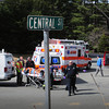 Rowley: Four people were taken to area hospitals in a two-car crash on Route One and Central Street in Rowley yesterday at noon. The intersection has blinking lights, but some are calling for a proper stop light. Bryan Eaton/Staff Photo