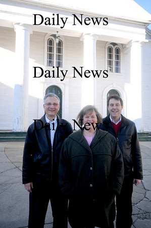 Amesbury:Rev. Joan MacPherson of Main Street Congregational Church stands with David Frick and Steve Horhota, co-chairmen of the church's Capital Campaign, a drive to raise $500,000 to restore the 200-year-old church.Jim Vaiknoras/Staff photo