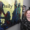 "Newburyport: Artist Lisa Riordon, "" A Painting a Day for Haiti's Children"" at the Firehouse in newburyport. Jim Vaiknoras/Staff photo"