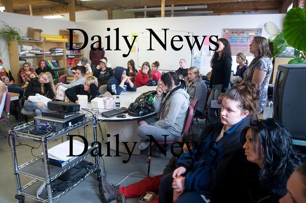 Amesbury:Students listen as a Botswanan woman speaks at Amesbury Academy Friday. Jim Vaiknoras/Staff photo