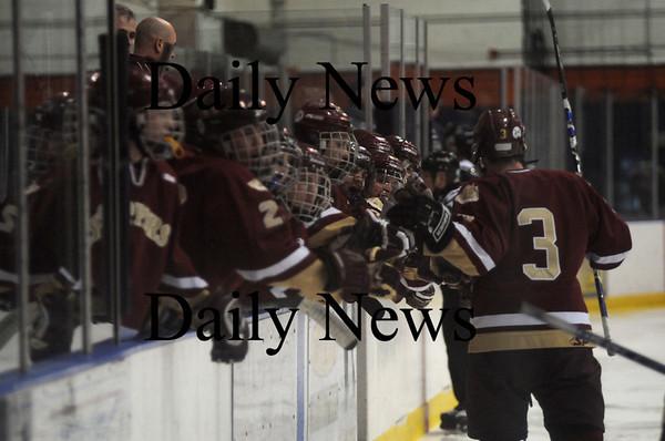 Salem: Newburyport player celebrate the teams 3rd goal agianst Peabody at Salem State Friday night. Jim vaiknoras/Staffphoto