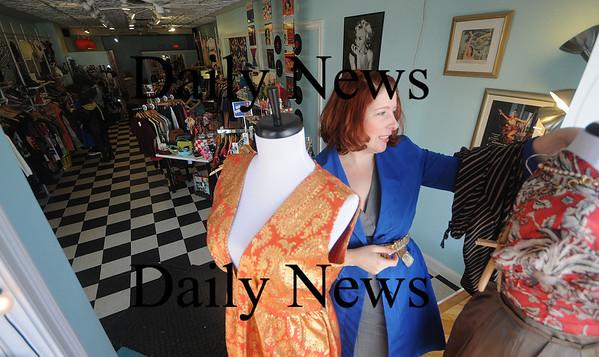Newburyport: Christine Robidoux, owner of the consignment shop  Modern Millie's on Pleasent Street in Newburyport. Jim Vaiknoras/Staff photo