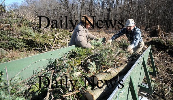 Amesbury: Ted and Terry Bailey of Main Street in Amesbury empty their trailor at the Amesbury compost pile on Elm Street of debris from last weeks wind storm. Jim Vaiknoras/Staff photo