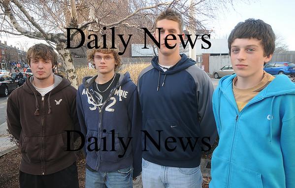 Newburyport: The Newburyport boys 4x200 relay team Stephen Peszynski, Ryan Dione, Kyle LeBlanc, and Nick Healey. Jim Vaiknoras/Staff photo
