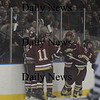 Salem: Newburyport celebrates their first goal agianst Peabody Friday night at Salem State.Jim Vaiknoras/Staff photo