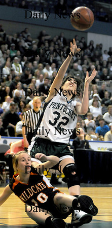 Worchester: Pentucket's Tess Noqueirais fouled during the teams loss in the  State chamionship game against Lee Saturday at the DCU Center in Worchester. Jim Vaiknoras/Staff photo