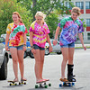 Newburyport: Carly Kouvaris, right, Shannon Kelleher, and Sisi Sawyer, all of Newburyport, skateboard around the parking lot at Cashman Park Monday afternoon. Photo by Ben Laing/Staff Photo