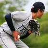 Byfield: Triton pitcher, Cam D'Agostino (5) sets himself to throw out a batter at firstbase during Tuesday's game against North Andover. Photo by Ben Laing/Staff Photo