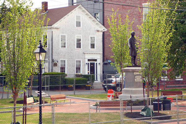 Newburyport: Brown Square in Newburyport is undergoing the finishing touches on a renovation project. The park will be open in time for the upcoming Memorial Day festivities. Photo by Ben Laing/Staff Photo