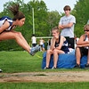 Byfield: Lauren Robert of Triton prepares for a landing during the long jump event at Monday's track meet with Pentucket. Photo by Ben Laing/Staff Photo