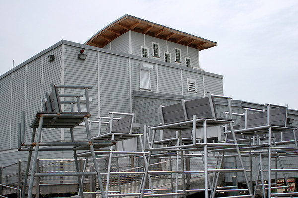 Salisbury: The life guard station at the Salisbury Beach Reservation remains closed and the look out chairs remain in the parking lot as the state has yet to place the life guards on duty. Photo by Ben Laing/Staff Photo