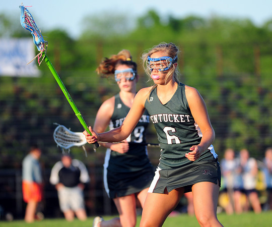 Byfield: Pentucket's Emily Lane (6) keeps an eye on the ball during Monday night's game at Triton. Photo by Ben Laing/Staff Photo