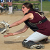 Newburyport: Cassaundra Davis (13) looks the ball into her mit during a force out at thrid base Monday as Newburyport downed Wilmington at Cashman Park. Photo by Ben Laing/Staff Photo