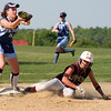 Byfield: Newburyport's Lindsey Tomasz (16) slides safely into third base, just ahead of the throw during Monday's game at Triton. Photo by Ben Laing/Staff Photo