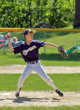 Byfield: Austin Vogt of Newbury pitches for this Brewers little league team during Sunday's game in Byfield. Photo by Ben Laing/Staff Photo