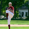 Newburyport: Kyle McElroy winds up to deliver the opening pitch of Monday afternoon's game against Lynnfield at Newburyport High. Photo by Ben Laing/Staff Photo