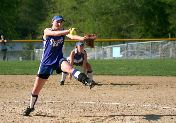Groveland: Georgetown pitcher Sarah Erlandson (15) delivers a pitch during Wednesday's game at Pentucket. Photo by Ben Laing/Staff Photo