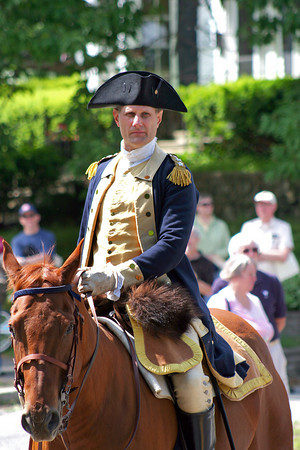 Newbury: General George Washington arrives by horseback at the First Parish Church in Newbury Saturday day morning for the town's 375th anniversary festivities.  Photo by Ben Laing/Staff Photo