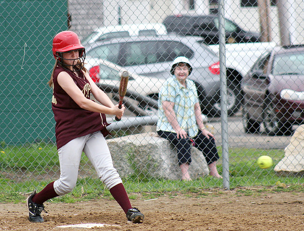 Newburyport: Newburyport's ----- puts the ball in play against Masco to knock in the Clippers' first run of the game Monday afternoon. Photo by Ben Laing/Staff Photo
