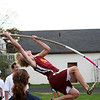 Newburyport: Newburyport's Mark Bajko attempts to clear the bar during the pole vault at Monday's track meet against Hamilton-Wenham. Photo by Ben Laing/Staff Photo