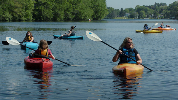 Amesbury: Amesbury Recreation Department kicked off its kayaking for an afterschool program on Lake Gardner at Camp Kent yesterday. A couple of senior citizens from the Council on Aging also came along to participate. Bryan Eaton/Staff Photo