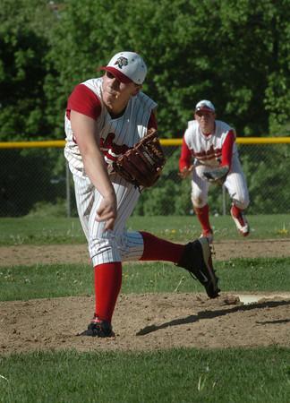 Amesbury: Amesbury pitcher Ward throws against Wilmington yesterday. Bryan Eaton/Staff Photo