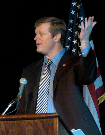 Salisbury: Massachusetts gubernatorial candidate Charlie Baker, addresses the Greater Newburyport Chamber of Commerce's Annual Luncheon yesterday. Bryan Eaton/Staff Photo