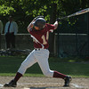 Newburyport: Newburyport's Ryan O'Connor hits the ball making it to second base on an error. Bryan Eaton/Staff Photo