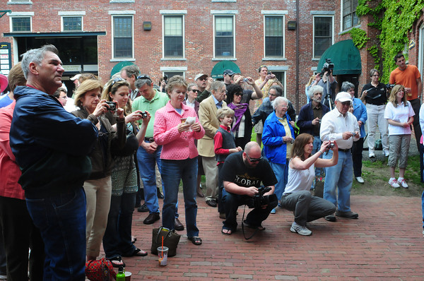 Amesbury: Scores of people attended the presentation of a mural on the biography of Al Capp. Bryan Eaton/Staff Photo