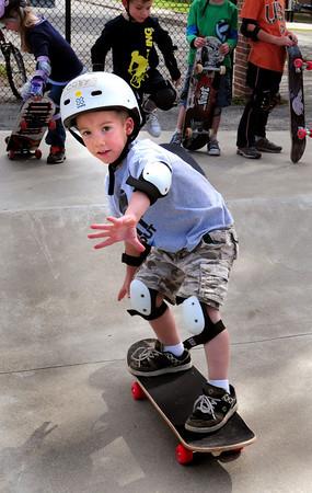 Newburyport: Cody Savage, 5, of Newburyport takes lessons at the Newburyport Skateboard Park. Bryan Eaton/Staff Photo