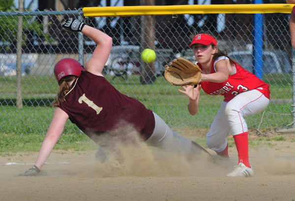 Newburyport: Newburyport's Rachel Webster makes it safely back to first base, manned by Amesbury's Erin Leary, as a pop-up was caught. Bryan Eaton/Staff Photo