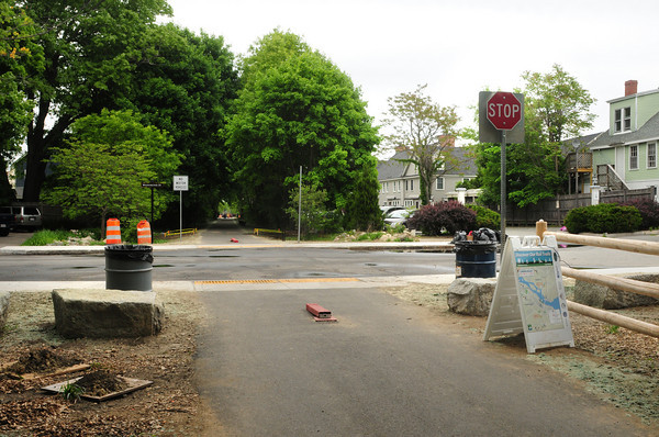 Newburyport: View now where Newburyport Train Station used to be, to right and rear of stop sign. Washington Street is a the stop sing in view looking to the north. Bryan Eaton/Staff Photo