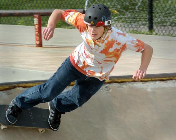 Newburyport: Tim Coolidge, 15, of Ipswich goes through some moves at the Newburyport Skateboard Park. Bryan Eaton/Staff Photo
