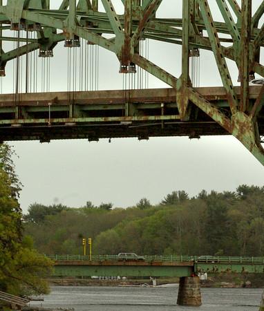 Newburyport: The Hines Bridge is seen below the Whittier Bridge in a view from Spring Lane in Newburyport. Bryan Eaton/Staff Photo