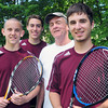 Newburyport: Newburyport High tennis captains, from left, Nick Filipancic, Nick Ross, coach Neil Reardon and Tony Dube. Bryan Eaton/Staff Photo
