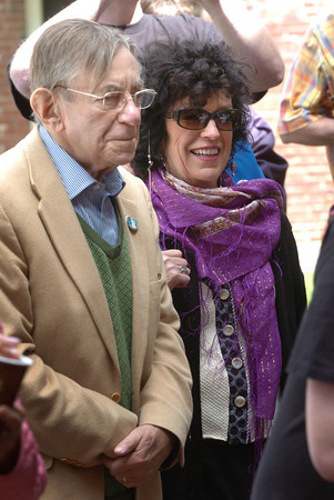 Amesbury: Al Capp's daughter Julie Cairol and her husband, Julien, attended the presentation of a mural of her father's life in Amesbury's Upper Millyard on Saturday morning during the Amesbury First festival. Bryan Eaton/Staff Photo
