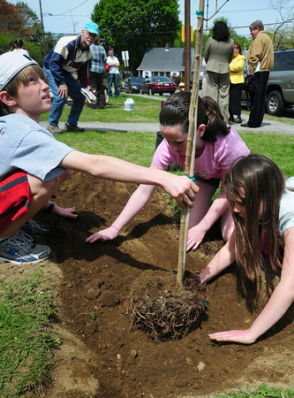 Newburyport: Friday was the annual spring street tree planting organized by the Newburyport Tree Committee where  they organized the  planting or 80 trees at various spots around town. Mayor Donna Holaday read a proclamation as students from the River Valley Charter School once again helped plant the trees. At Kelleher Park here, from left, Jack Byers, Emily  Marino-Babcock, both 11, and Isabel Schonemann. Bryan Eaton/Staff Photo