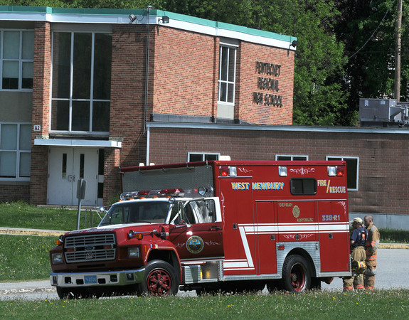 West Newbury: West Newbury Fire and Rescue respond to a bomb scare at Pentucket High School Friday morning. Jim Vaiknoras/Staff photo