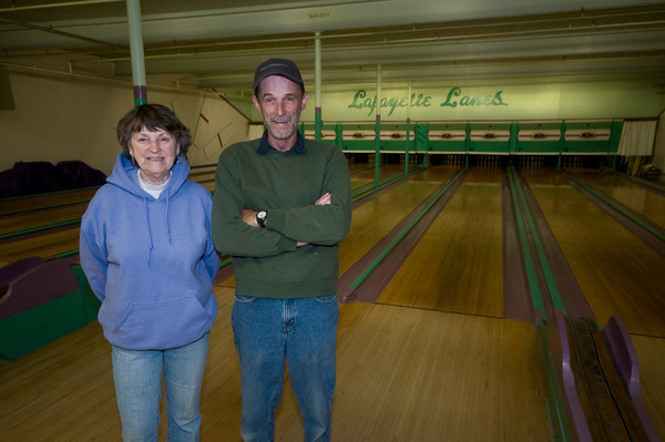 Amesbury: Terry Quinn and her son Jack  at Lafayette Lanes . The Amesbury landmark is celebrating 40 years under the ownership of the Quinn family.<br /> Jim Vaiknoras/Staff photo