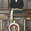 Newbury: A actor portraying President  Lincoln speaks during Sunday services at  the First Parish Church in Newbury. The pair were part of  this weekend Newbury 375th celebration. following a lunchen read the Gettysburg Address on  the Upper Green. Jim Vaiknoras/Staff photo