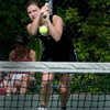 Newburyport: Ipswich 1st singles player Bridget Fay against Newburyport at Atkinson Common in Newburyport. Jim Vaiknoras/Staff photo