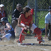 Byfield:Amesbury catcher Laura Kiminski get ready to throw the ball after triton's Brooke Jamison slides safely home during their game at Triton friday. Jim Vaiknoras/Staff photo